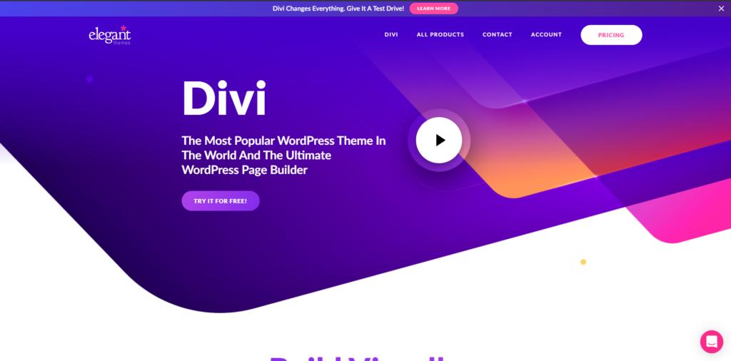 Divi's landing page