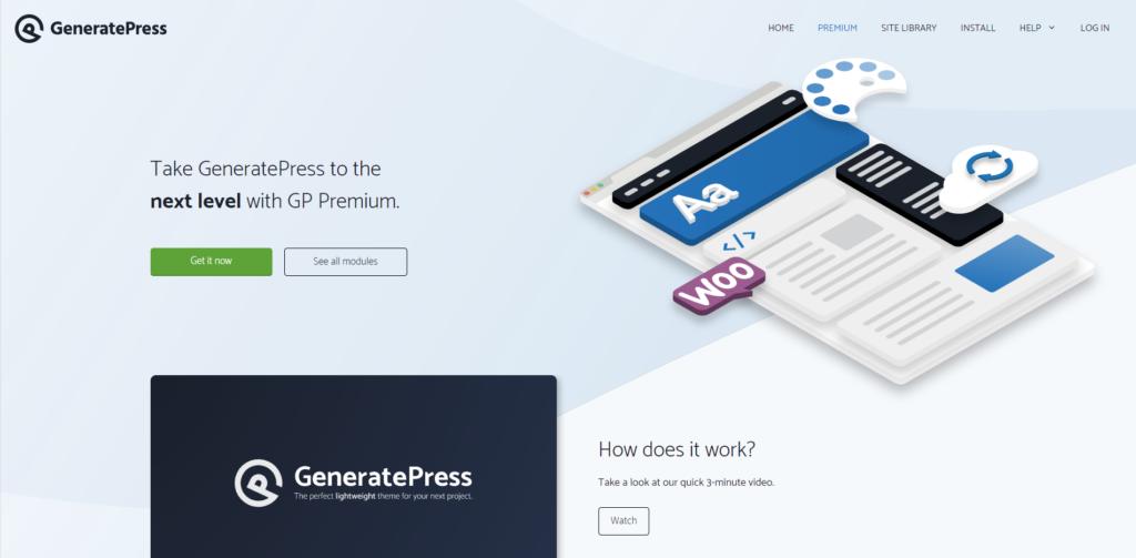 GeneratePress' landing page