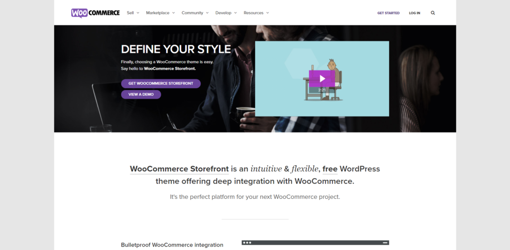Storefront's landing page