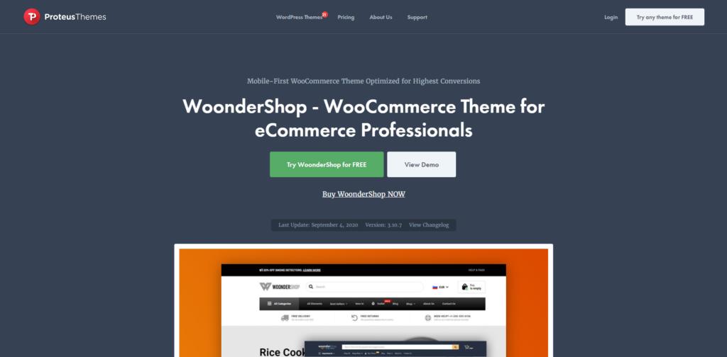 WoonderShop's landing page