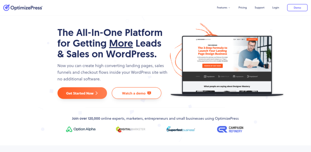 OptimizePress' landing page